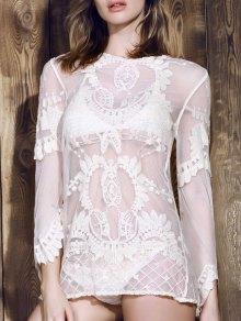 Long Sleeve Sheer Lace Cover Up