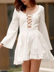 Ruffle Hem Cutout Long Sleeve Romper - White