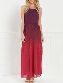 Halter Ombre Color High Slit Maxi Dress