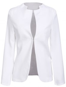Notched Solid Color Long Sleeve Blazer - White