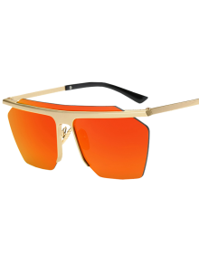 Rimless Mirrored Square Sunglasses