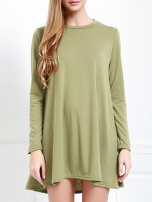 Long Sleeve Open Back Swing Dress - Army Green S