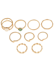 9 PCS Gold Plated Fake Gemstone Rings - Golden
