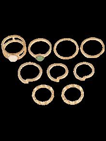 9 قطع مطلية بالذهب وهمية الأحجار الكريمة خواتم - ذهبي