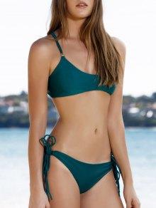 Spaghetti Strap Tassels Green Bikini