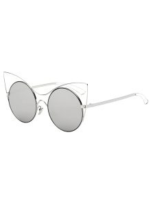 Hollow Out Leg Cat Eye Mirror Sunglasses - Silver