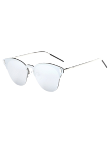 Butterfly Shaped Mirrored Sunglasses - Silver