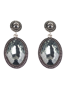 Vintage Oval Rhinestone Drop Earrings - Black