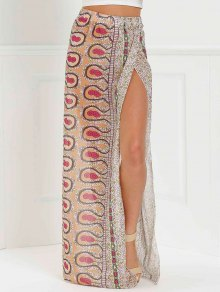 High Slit Printed Long Skirt