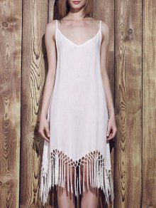Spaghetti Strap Solide Couleur Tassel Splicing Robe - Blanc