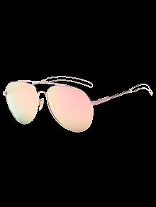Crossbar Hollow Out Leg Pilot Mirror Sunglasses - Pink