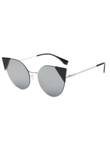 Triangle Insert Cat Eye Mirrored Sunglasses - Silver