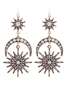 Crescent Floral Rhinestone Drop Earrings - Silver