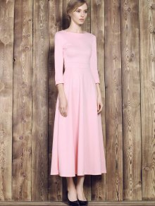 Fit And Flare Maxi Dress PINK: Maxi Dresses   ZAFUL