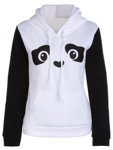 Panda Pattern Hooded Long Sleeve Hoodie - White