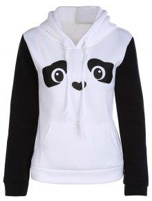 Panda Pattern Hooded Long Sleeve Hoodie - White