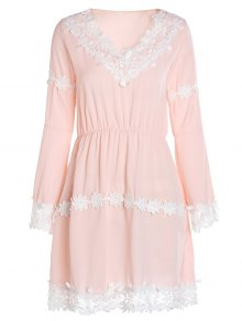 Crochet Floral Applique Chiffon Dress - Pink S