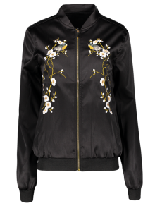 Embroidered Baseball Jacket - Black
