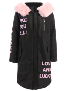 Hooded Letter Padded Coat - Black L
