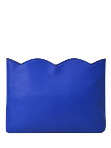 Scalloped Clutch Bag With Chains - Blue