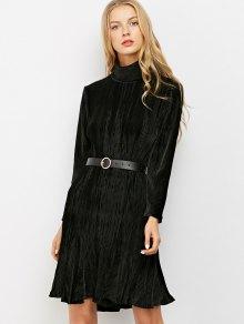 Ribbed Mock Neck Long Sleeve Ruffle Dress - BLACK L