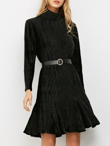 Ribbed Mock Neck Long Sleeve Ruffle Dress - Black S