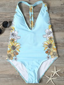 Sunflower Print Plunge Swimsuit