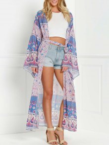 Kimono Imprimé Sans Col à Manches Larges - Pourpre