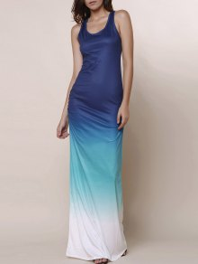 Ombre Color Scoop Neck Maxi Sundress - Blue S