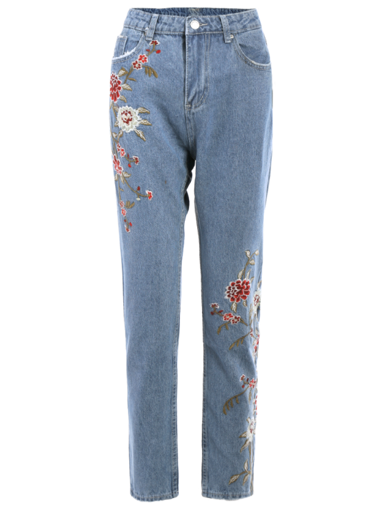 Retro Floral Embroidered Jeans - LIGHT BLUE L Mobile