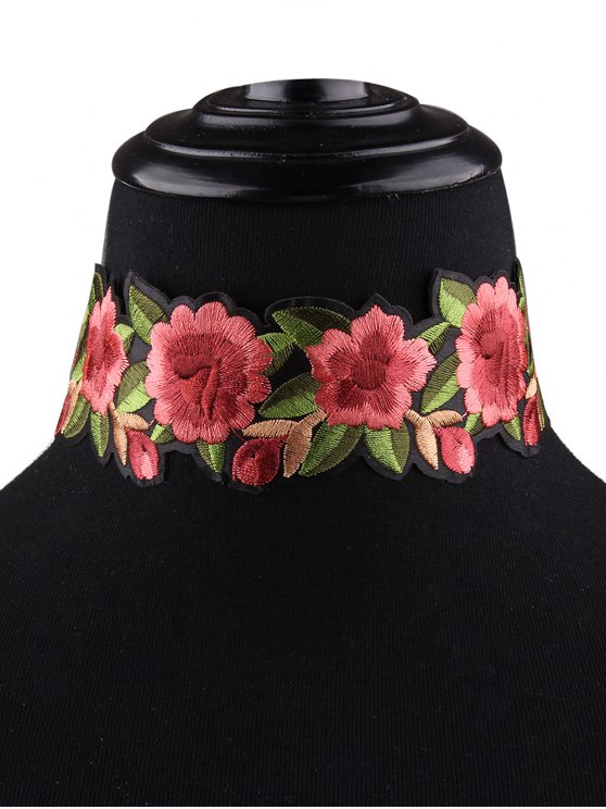 Embroidered Choker Necklace - RED  Mobile