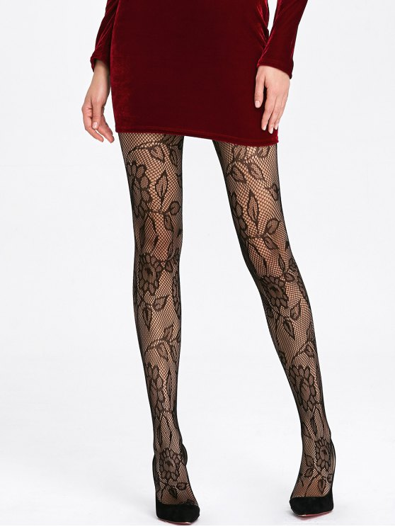 Sheer Floral Pattern Fishnet Tights - Black