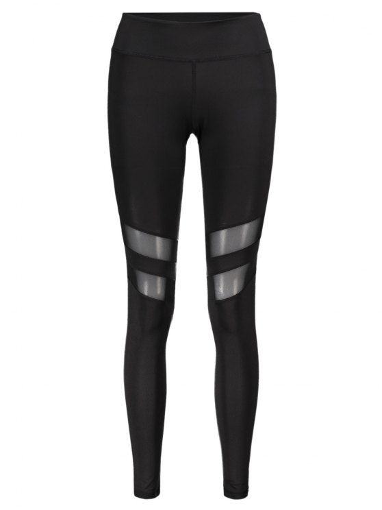 lady Mesh Panel Leggings - BLACK L