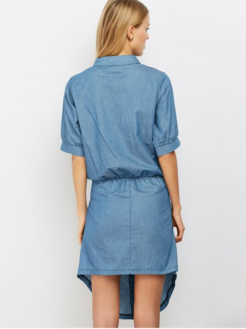 outfit Casual Asymmetric Denim Dress - LIGHT BLUE S Mobile