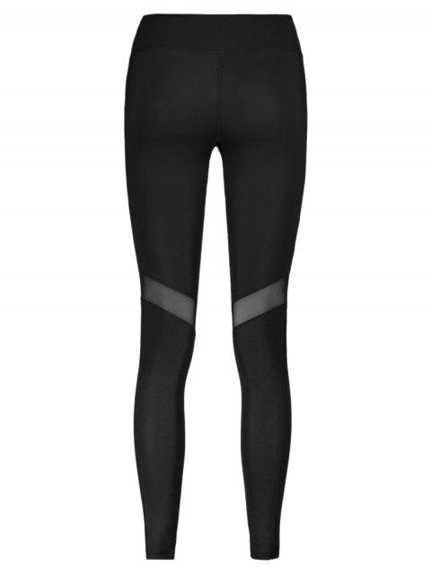 lady Mesh Panel Leggings - BLACK L Mobile