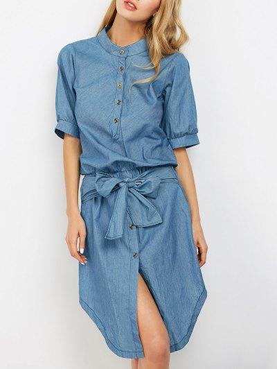 Vestido Ocasional Del Dril De Algodón Asimétrico - Azul Claro