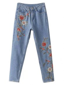 Retro Floral Embroidered Jeans - Light Blue