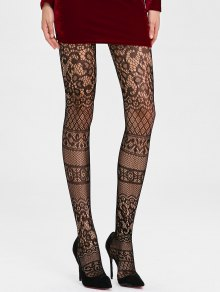 Buy Lace Crochet See Thru Fishnet Tights - BLACK ONE SIZE