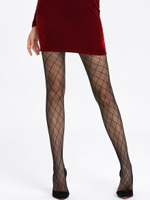 Plaid See Thru Collants Résille - Noir