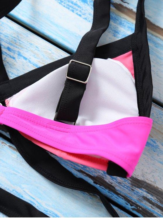 Strappy Color Block Banded Bikini Set - WATERMELON RED S Mobile
