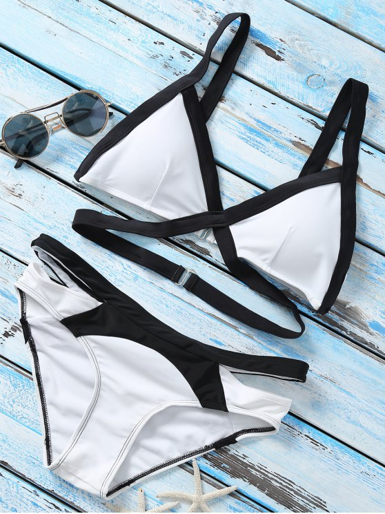 affordable Strappy Color Block Banded Bikini Set - WHITE L