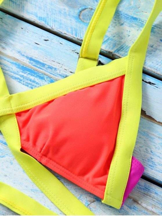 Strappy Color Block Banded Bikini Set - JACINTH M Mobile