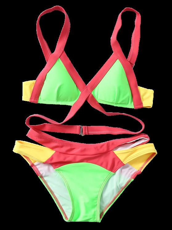 Strappy Color Block Banded Bikini Set - NEON BRIGHT GREEN S Mobile