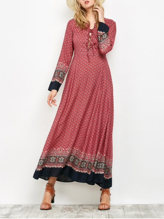 outfits Long Sleeve Lace Up Maxi Dress - RED S