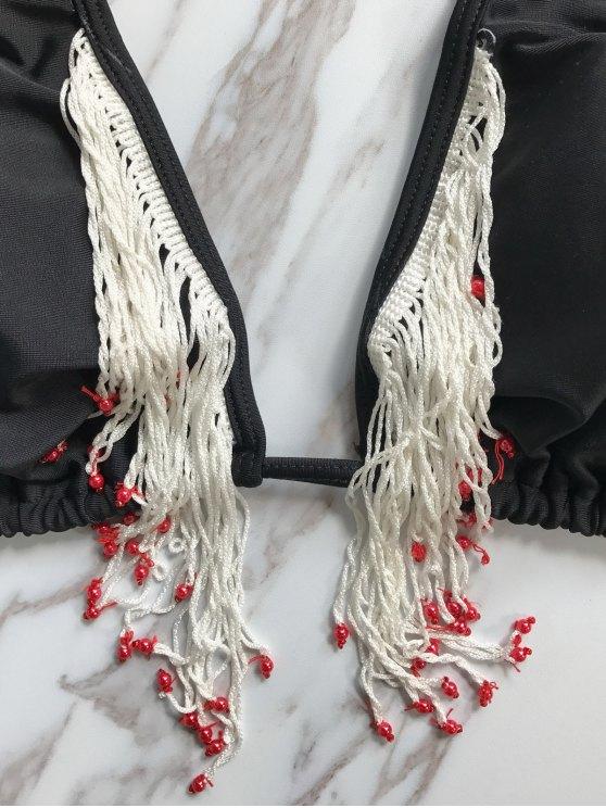 Beading Tassels Bikini Set - BLACK L Mobile