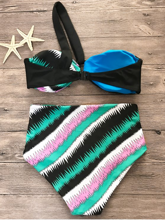 Printed One Shoulder High Waist Bikini Set - MULTICOLOR L Mobile