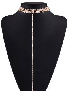 Alloy Rhinestoned Necklace - Golden