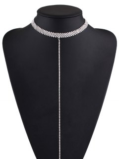 Alloy Rhinestone Necklace - Silver