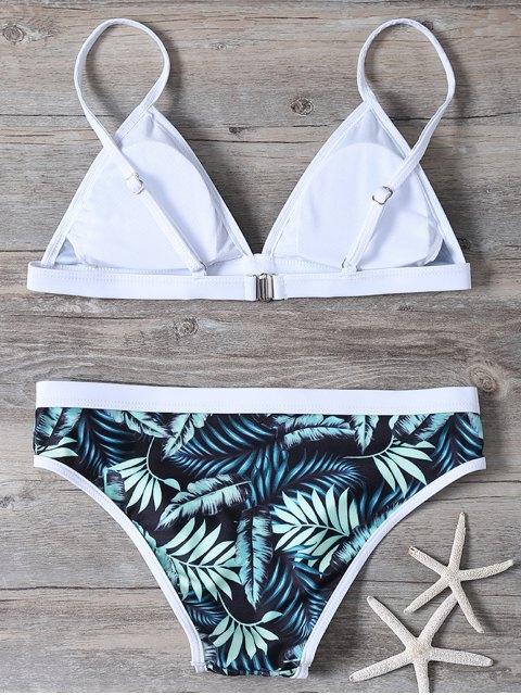ladies Padded Leaf Print Cami Bikini - FLORAL L Mobile