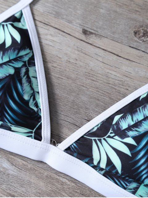 lady Padded Leaf Print Cami Bikini - FLORAL M Mobile